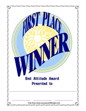 First Place Winner Certificate - Recognition For Best Attitude