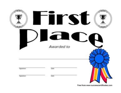 First Place Winner Certificate First Place Winner Award .