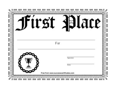 first place achievement certificate � first place winner