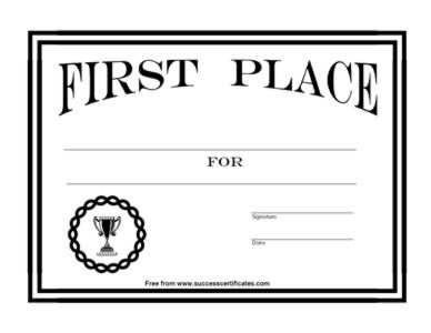 Certificate for 1st place award 7 certificate templates for First prize certificate template