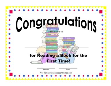 Certificate of reading a book for first time certificate reading a book for first time award get this certificate template yadclub Choice Image