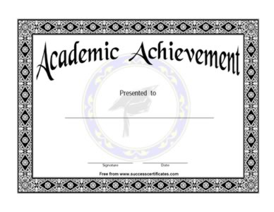 academic achievement certificates templates  Academic Achievement Certificate – Academic Success Award ...