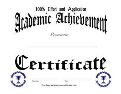academic achievement award 2 certificate templates teachers