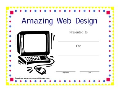 Certificate for Outstanding Web Design