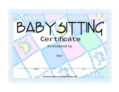 Babysitting award certificate certificate templates teachers babysitting certificate get this certificate template yadclub Image collections