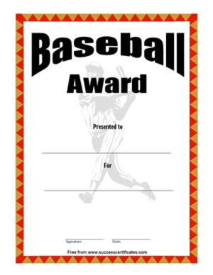 Baseball Award Certificate - An Achievement In Baseball