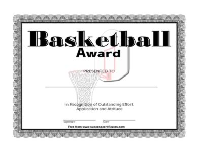 Basketball Award Certificate Recognition Of Outstanding