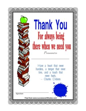 Thank You for Being There Certificate