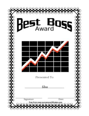 Best Boss Award Certificate | Certificate Templates | Teachers