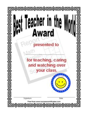Certificate for the best teacher in the world certificate best teacher in the world achievement certificate get this certificate template yadclub Choice Image