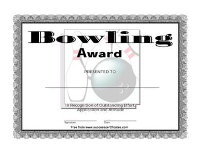 Bowling award 1 certificate templates teachers bowling award 1 yadclub Images