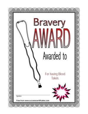 Bravery award for donating blood certificate templates for Bravery certificate template