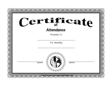 Attendance Certificate - Presence Certificate