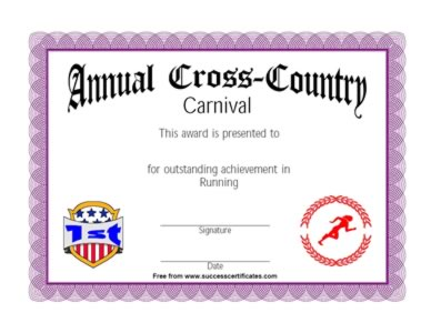 Running award certificate winner in running competition for Running certificates templates free