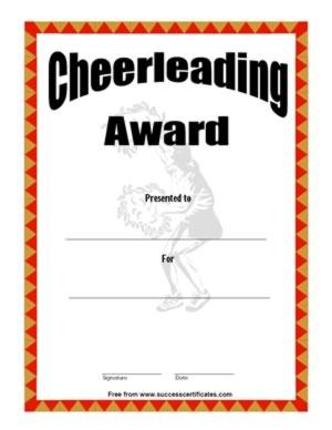 Cheerleading Award – Cheerleading Certificate ...