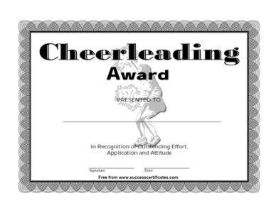 Certificate For Cheerleading - cheerliading Award