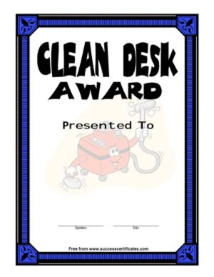 Certificate For Cleaning Desk