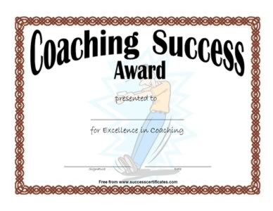 Certificate For Coaching Success