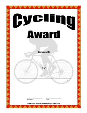 Certificate For Cycling – Cycling Award | Success Certificates