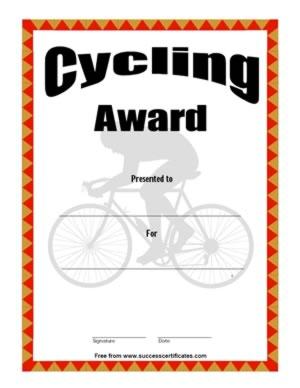 Certificate For Cycling – Cycling Award | Certificate ...
