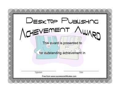 Certificate For  Desk Top Publishing Achievement