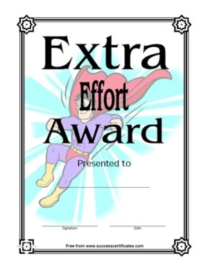 Extra Effort Award Certificate -Three