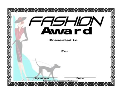 Certificate For Fashion Competition Fashion Award One