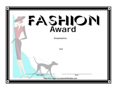 Certificate for Fashion Competition – Fashion Award – Two ...