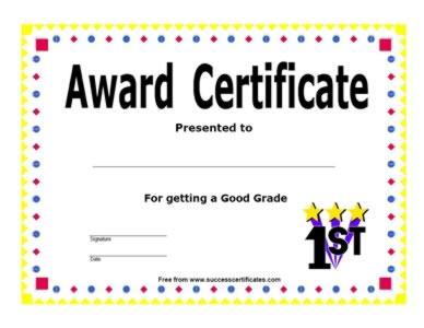Award Certificate – For Achievement Of Good Grade ...