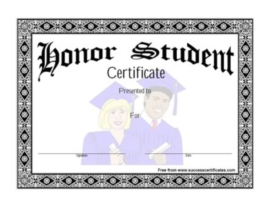 Honor Student Certificate - Honor Student Award