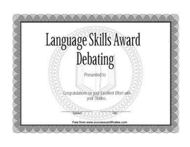 Certificate Of Achievement In Debate Competition  Success Certificates