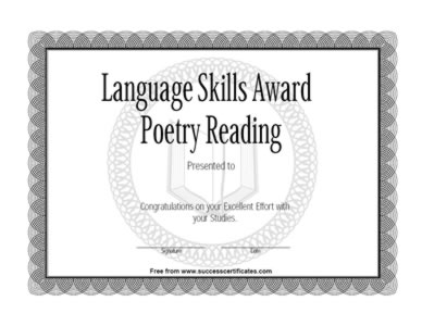 Certificate Of Achievement In Poetry Reading