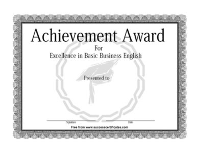 Certificate Of Achievement In Basic English