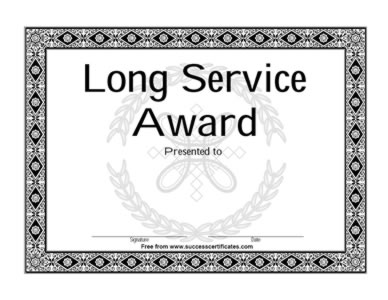 Certificate On Completion Of Long Service