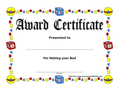 award certificate for making bed certificate templates teachers
