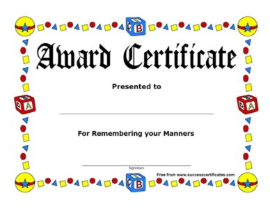 Award Certificate For Remembering Your Manner