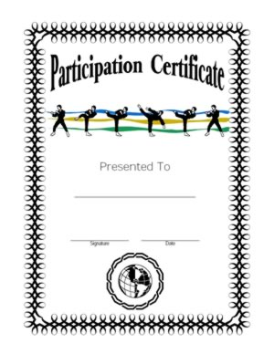 certificate of martial arts participation certificate of participation