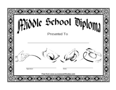Certificate of middle school diploma two certificate templates certificate of middle school diploma two yadclub Image collections
