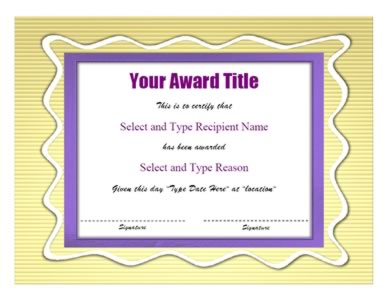 purple certificate template - purple yellow double border certificate template two