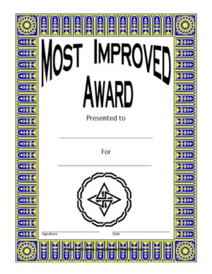 most improved award two certificate templates teachers