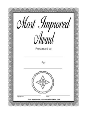 Most improved certificate template free insrenterprises most improved certificate template free yelopaper Images