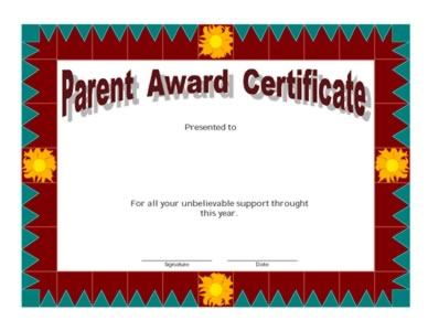 Parent Award Certificate Two Certificate Templates