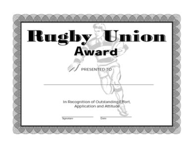 Rugby Union Award -One | Certificate Templates | Teachers