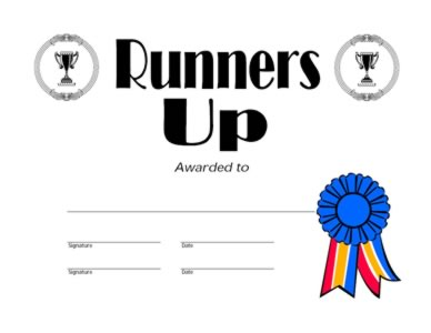 Runners Up Award Runners Up Certificate Certificate