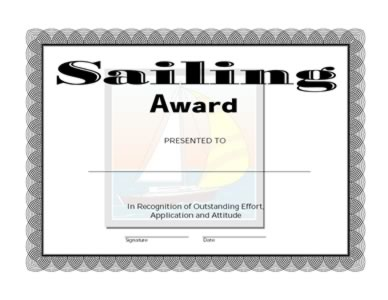 Sailing Award Certificate – One