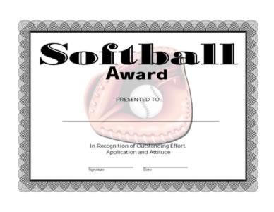 softball award certificate