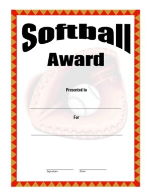 Certificate of Achievement in Softball  - Two