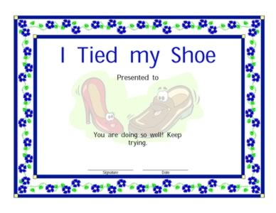 Certificate For Tying A Shoe