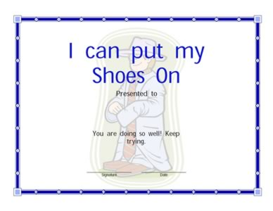 I can Put On My shoes Certificate | Certificate Templates ...