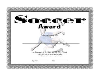 Certificate Of Achievement On Soccer   One
